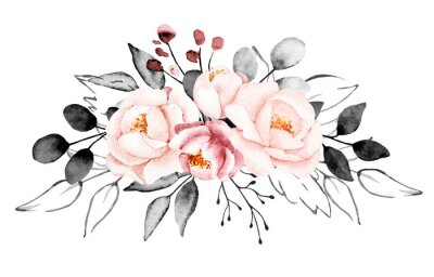 Fotomural Peonies, watercolor pink and gray flowers. Floral summer vintage illustration isolated on white background. Hand drawing. Perfectly for wedding, birthday, party, other greetings design.
