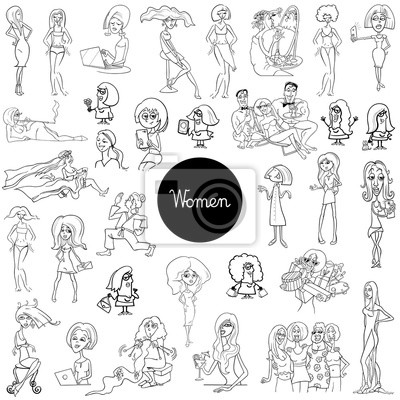 Personagens De Desenhos Animados Mulheres Definir Livro De Cor