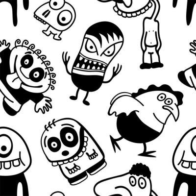 Fotomural Personagens engraçados dos desenhos animados teste padrão sem emenda.