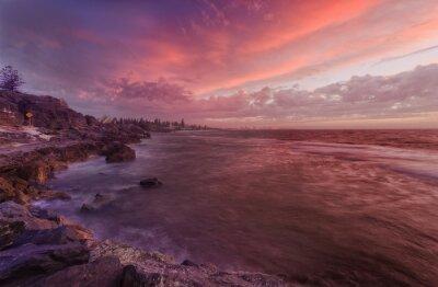 Fotomural PERTH praia rochas pôr do sol