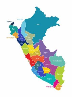 Fotomural Peru Mapa Regiões Vector