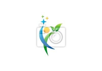 3e2fbeed8c72d Fotomural pessoas, celebração, logotipo, bem-estar, educação para a saúde  símbolo