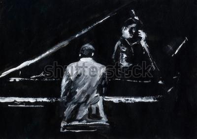Fotomural Pianista e contrabassista. Concerto de banda de jazz. Pianista e contrabaixo tocam no palco. Pintura abstrata preto e branca elegante. Vista traseira e lateral. Músicos com instrumentos.