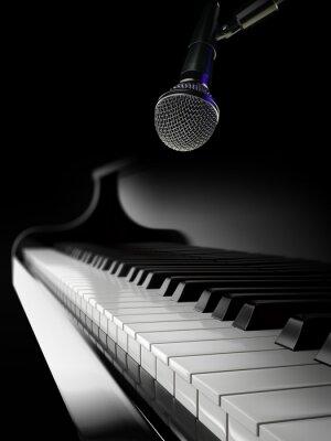 Fotomural Piano, teclas, pretas, piano, microfone