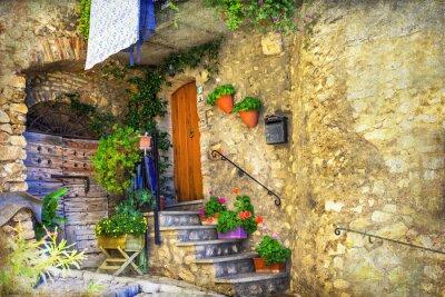 Fotomural Pictórica, antigas, ruas, italiano, vilas