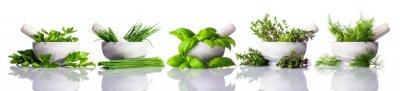 Fotomural Pilão e almofariz com ervas verdes no fundo branco