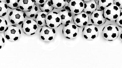 Fotomural Pilha de bolas de futebol clássicos isolados no branco com cópia-espaço
