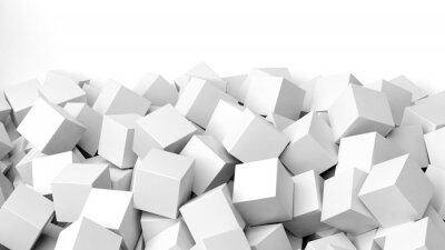 Fotomural Pilha de cubos 3D branco, isolado no branco com cópia-espaço
