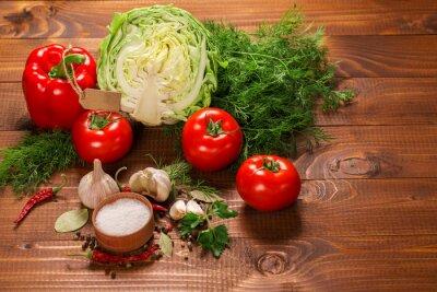 Fotomural Pimenta, tomates, alho, vindima, madeira, tabela, rótulo