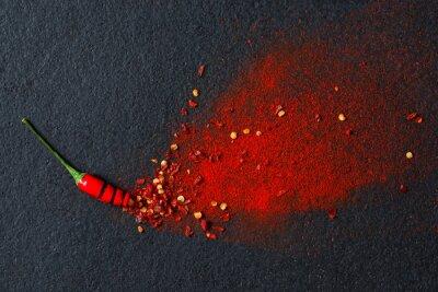 Fotomural Pimentão, vermelho, pimenta, flocos, pimentões, pó