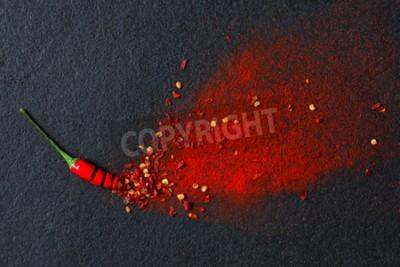 Fotomural Pimentão, vermelho, pimenta, flocos, pimentões, pó, estouro