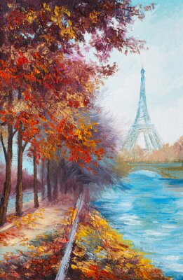 Fotomural Pintura a óleo da Torre Eiffel, na França, paisagem de outono