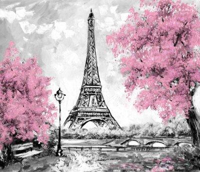 Fotomural Pintura a óleo, Paris. Paisagem da cidade européia. França, Wallpaper, torre eiffel. Preto, branco e rosa, arte moderna