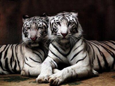 Fotomural Pintura a óleo Tigre branco / efeito de foto Pintura a óleo