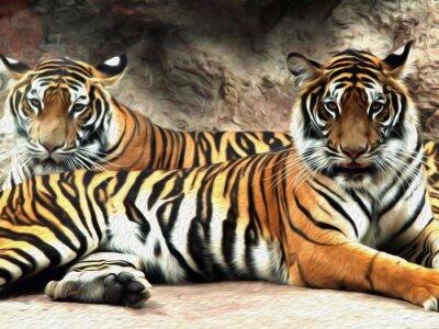 Fotomural Pintura a óleo Tigre / efeito de foto Pintura a óleo