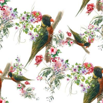 Fotomural Pintura aquarela com pássaros e flores, padrão sem costura no fundo branco