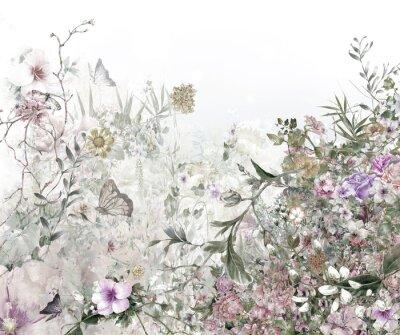 Fotomural Pintura aquarela de folhas e flores, no fundo branco