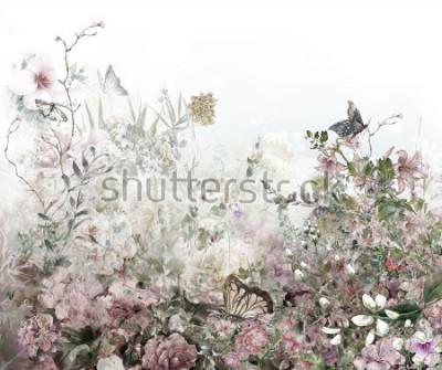Fotomural Pintura colorida da aguarela das flores abstratas. Primavera multicolorida na natureza