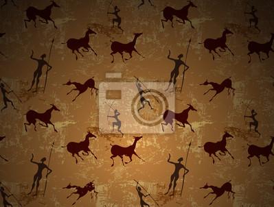 Fotomural Pintura de caverna arte antiga sem emenda do vetor