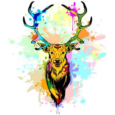 Fotomural Pintura de gotejamento PopArt dos cervos
