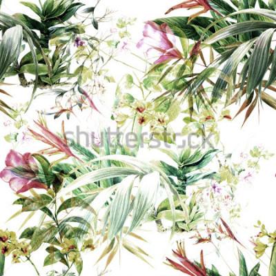 Fotomural Pintura em Aquarela de Folha e Flores, sem costura padrão no fundo branco