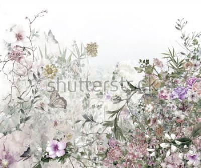 Fotomural pintura em aquarela de folhas e flores, em fundo branco