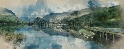 Fotomural Pintura em aquarela digital de Barcos a remo paisagem panorama no lago com píer contra fundo de montanhas