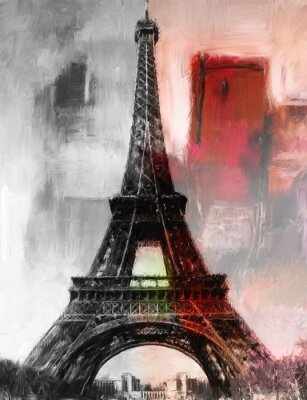Fotomural Pintura Paris Torre Eiffel Torre Eiffel Imagem Pintura a óleo de arte