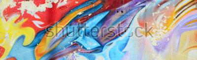 Fotomural Pinturas abstratas dos grafittis no muro de cimento. Textura de fundo