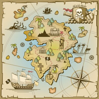 Fotomural Pirata, tesouro, ilha, vetorial, mapa