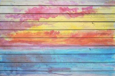 Fotomural Placa de madeira velha em cores do arco-íris