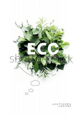 Fotomural Planeta ambientalmente amigável Poster.Bola falante simbólica, feita da grama verde e dos ramos. Conceito de natureza mínima. Natureza falando Pense Verde. Conceito de ecologia. Lay plana. Vista do to