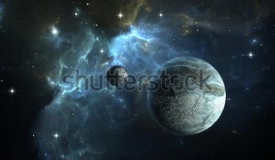 Fotomural Planeta extrassolar. Planeta de pedra com a lua na nebulosa do fundo. Ilustração 3D