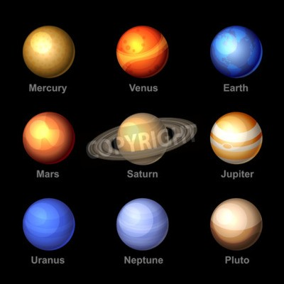 Fotomural Planetas de cor lustrosos de ícones do sistema solar. Vetor.