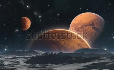 Fotomural Planetas rochosos e lua, fundo do espaço. Ilustração 3d