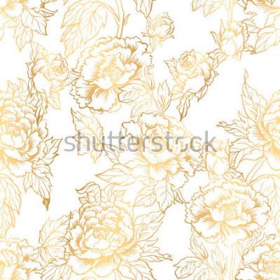 Fotomural Plano de fundo sem emenda com flores de peônia. A ilustração do vetor imita a pintura tradicional da tinta chinesa. Graphic hand drawn floral pattern. Design de tecido têxtil. Tinta dourada.