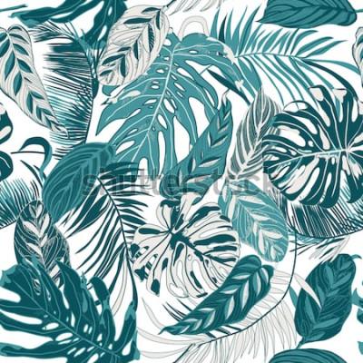 Fotomural plano de fundo sem emenda com folhas tropicas