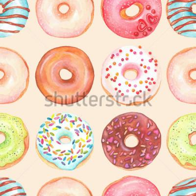 Fotomural Plano de fundo sem emenda de donuts coloridos aquarela vitrificada.