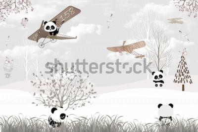 Fotomural Playing cute pandas kids room wallpaper design