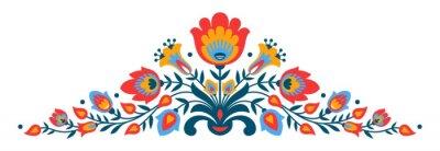 Fotomural Polacos folclóricos papercut estilo flores