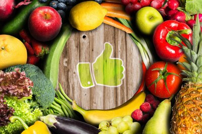 Fotomural Polegares acima de frutas e legumes