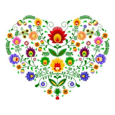 Fotomural Polski folklor - wzór w kształcie serca