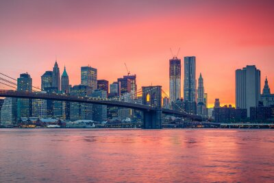 Fotomural Ponte de Brooklyn e Manhattan ao entardecer