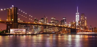 Fotomural Ponte de Brooklyn e Manhattan na noite, New York City, EUA.
