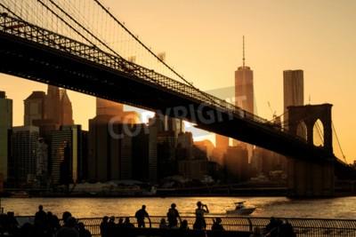 Fotomural Ponte do Brooklyn no por do sol, Nova York