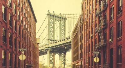 Fotomural Ponte estilizado retro de Manhattan vista de Dumbo, New York.