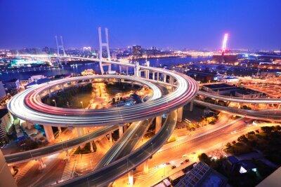 Fotomural Ponte Spiral em Xangai Rio Huangpu no pássaro olho vista o