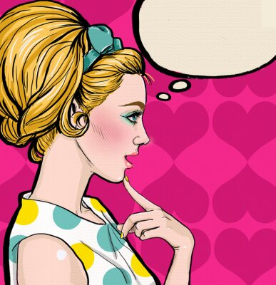 Fotomural Pop Art  blond girl in profile with the speech bubble.