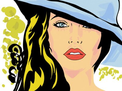Fotomural pop art femme chapeau visage,tête