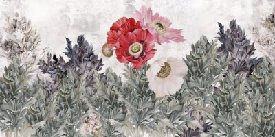 Fotomural Poppies flowers illustration. Poppies painted on the grunge wall. Beautiful design for card, postcard, picture, mural, wallpaper, photo wallpaper.